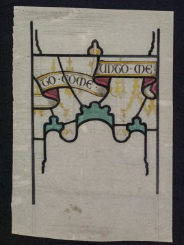 Tracing paper cartoon with applied color made for St. Mary's Church, Ajmer, India, BIB#147185.