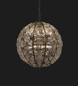 """""""Crystal Sphere"""" Chandelier (2012.3.25): Made by the Orrefors company between 1963-1967, this object was difficult to clean in part because of its large size (it's maximum diameter is 61 cm or just over 2 feet) and its shape."""