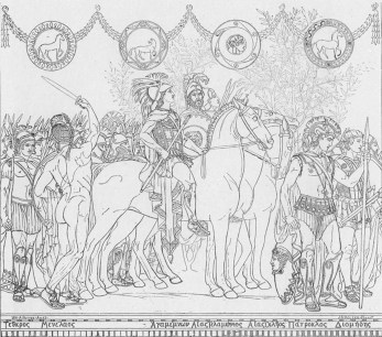 Detail of drawing for the left panel of frieze, Heroes and Heroines of the Homeric Story.