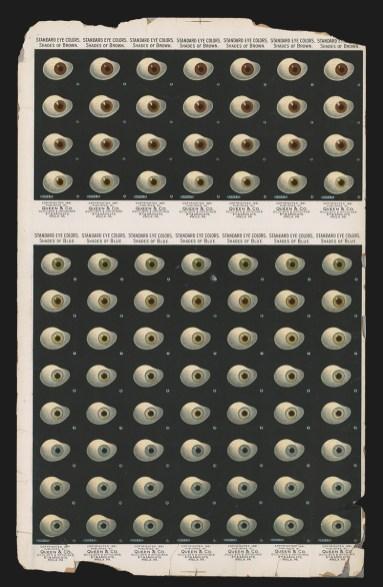 Advertising poster for glass eyes