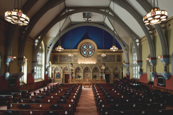 nterior of First Presbyterian Church, Bath, New York, 1895–1897. Tiffany Glass and Decorating Company.
