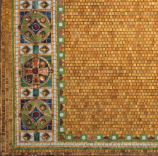 "Detail of reredos with cross, after 1910. Tiffany Studios. Glass mosaic with glass ""jewels."" Christ Episcopal Church, Corning, New York."