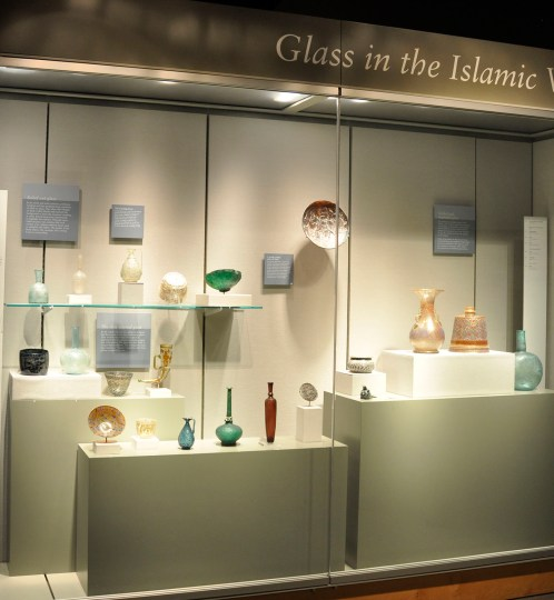The Islamic bowl in its case in Glass in the Islamic World.