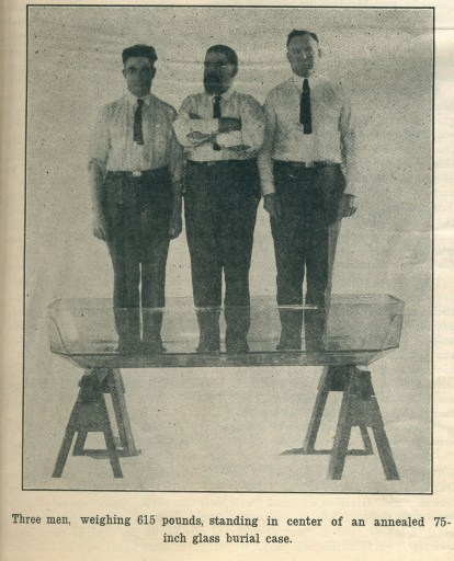 """Adult-Size Glass Caskets Made At Altoona,"" Glass Worker, vol. 41 no. 1 (October 1, 1921): page 11. CMGL 38310."