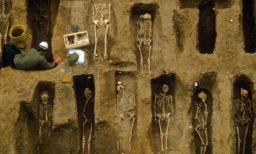 Medieval individual graves with skeletons