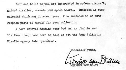 Letter from Wernher von Braun