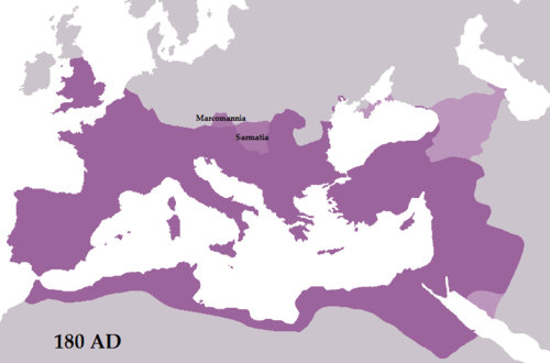Roman Empire map at 180 CE