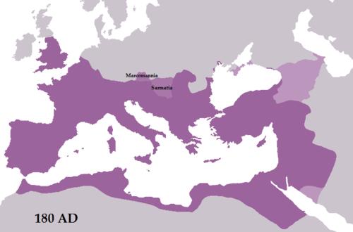 Roman Empire map at 180 CE