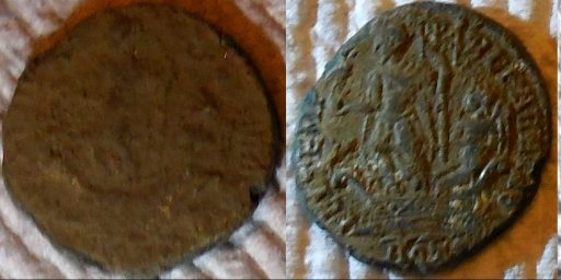 Roman coin after one washing