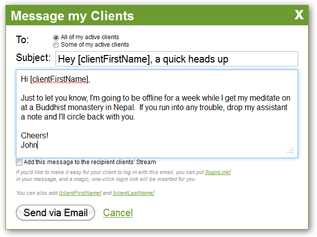 You can personalize your bulk message by inserting your client's name and a magic login link.