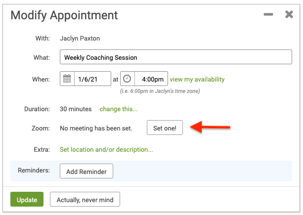 Quickly add Zoom Meetings to your already-scheduled CoachAccountable appointments.