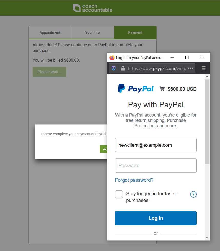 PayPal popup window when purchasing an Offering