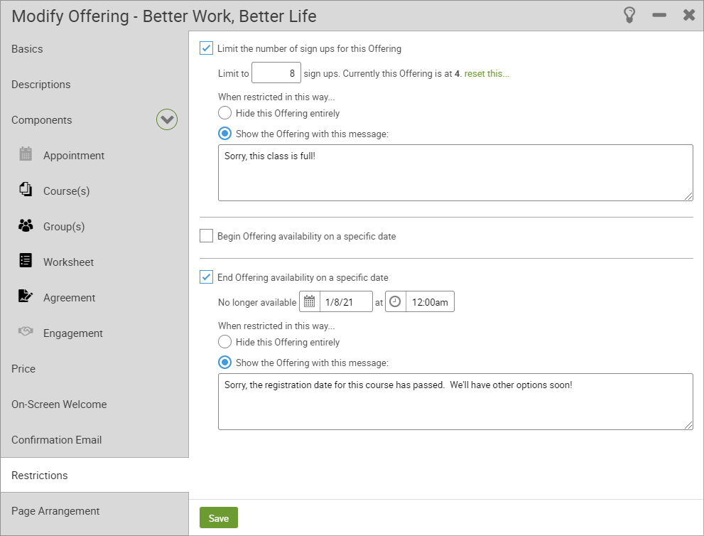 Offering Restrictions configuration