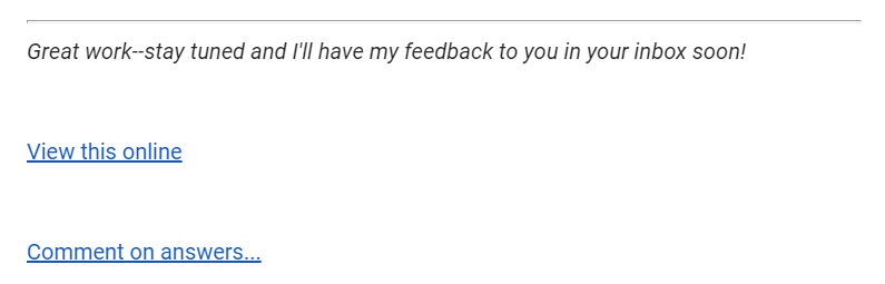Link that appears in an email to let you go comment on answers