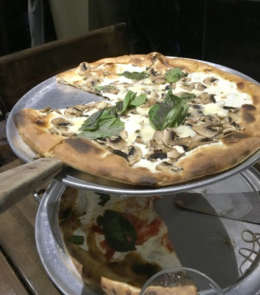 Mushroom truffle oil and Margherita Pizza from Table 87 in Brooklyn