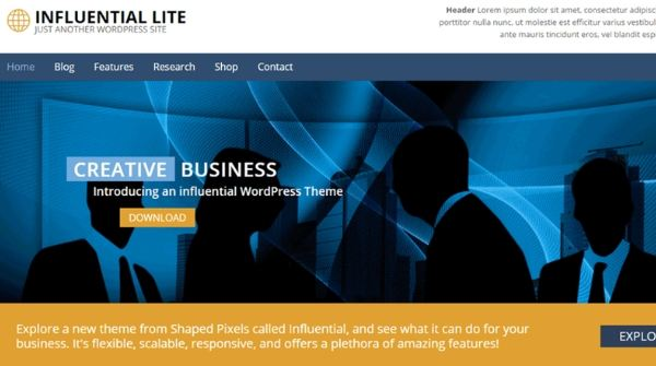 Influential Lite Free WordPress Template