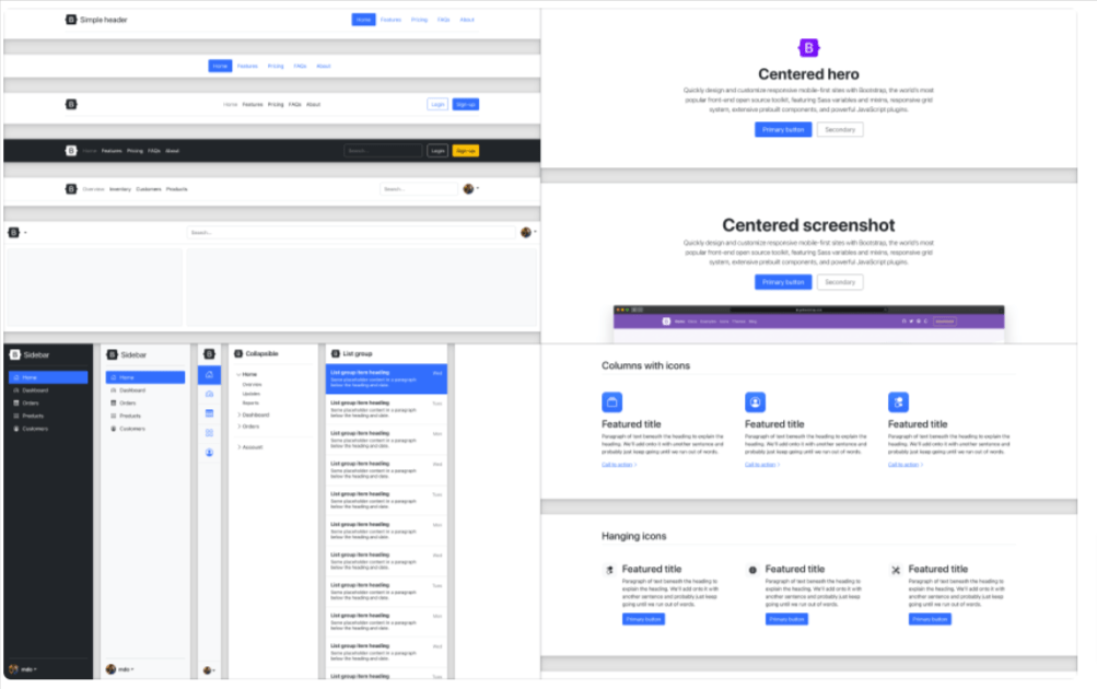 New and refreshed examples - Update of Bootstrap 5 Versions
