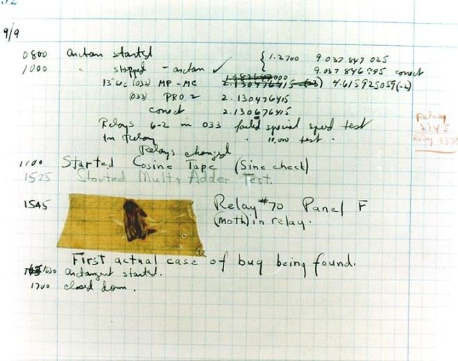 第一次被发现的导致计算机错误的飞蛾,也是第一个计算机程序错误。
