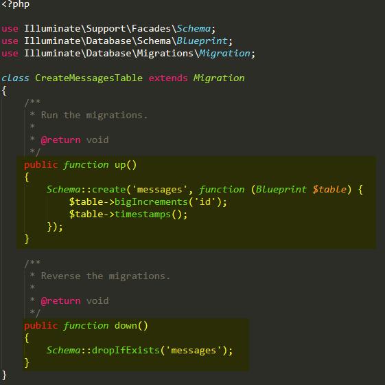Basic Laravel migration file usage