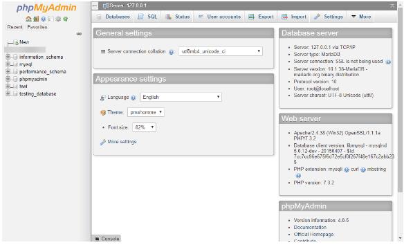 phpmyadmin interface