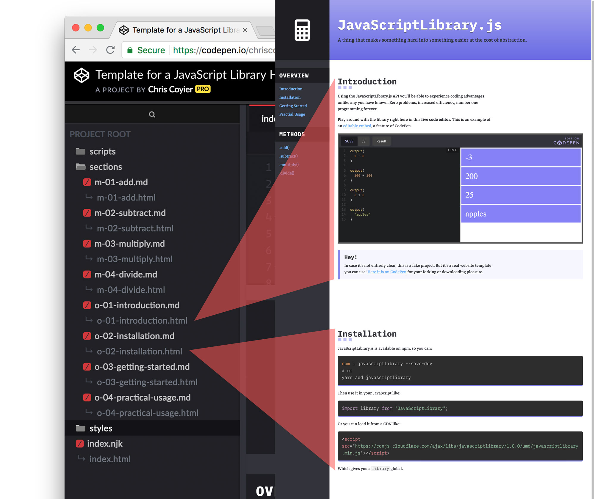 - markdown includes - A Free Template for JavaScript Library Homepages