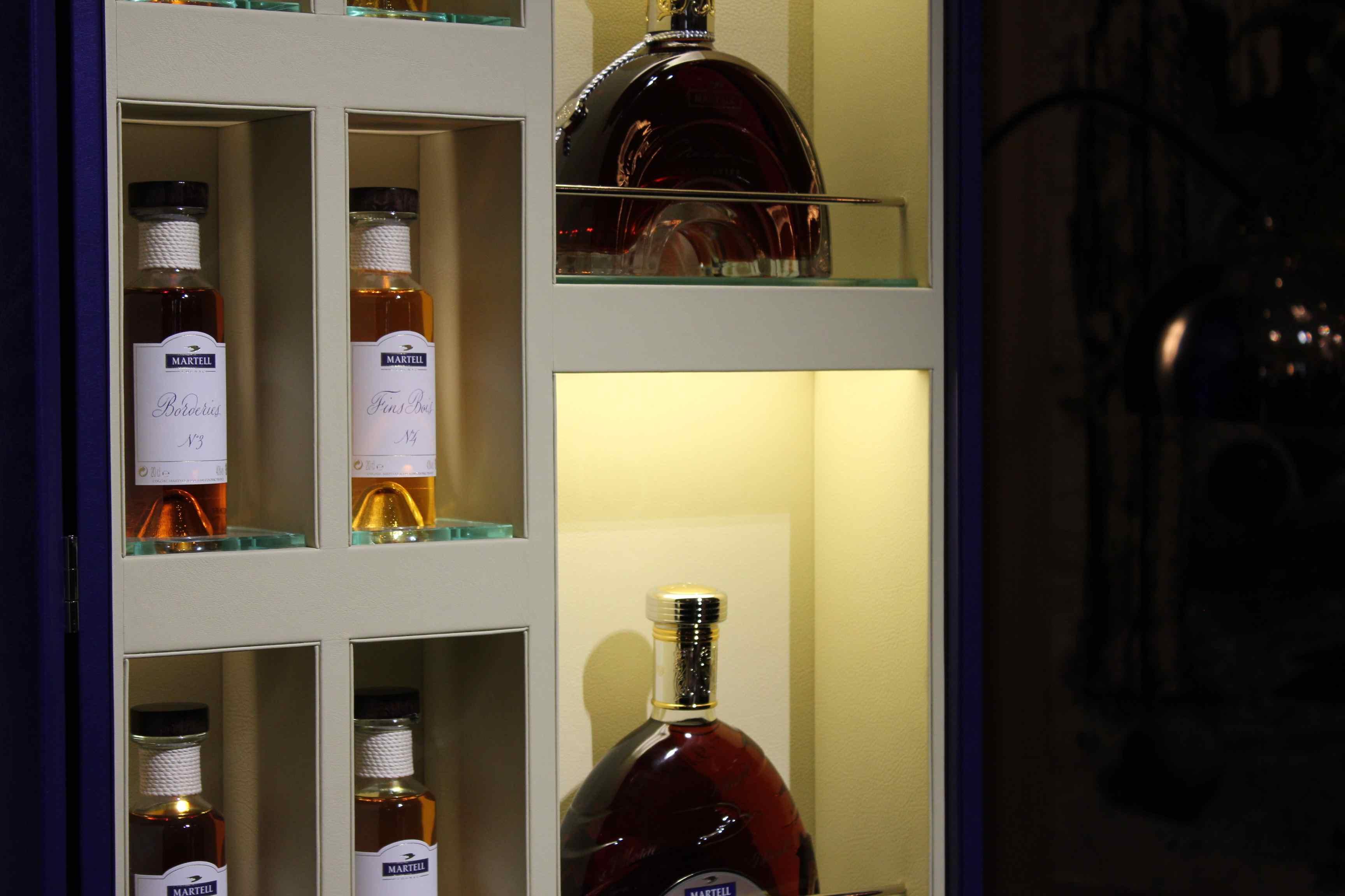 Cognac bottles in Martell trunk