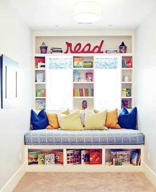 Home Nook Ideas Colorful Reading Nook Throw Pillows Bookshelves Open Windows with Natural Lighting