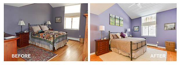 Master Bedroom of Home Staged By PJ & Company Staging and Interior Decorating