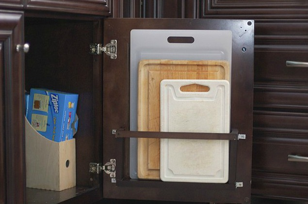 Keep cutting boards in a vertical holder