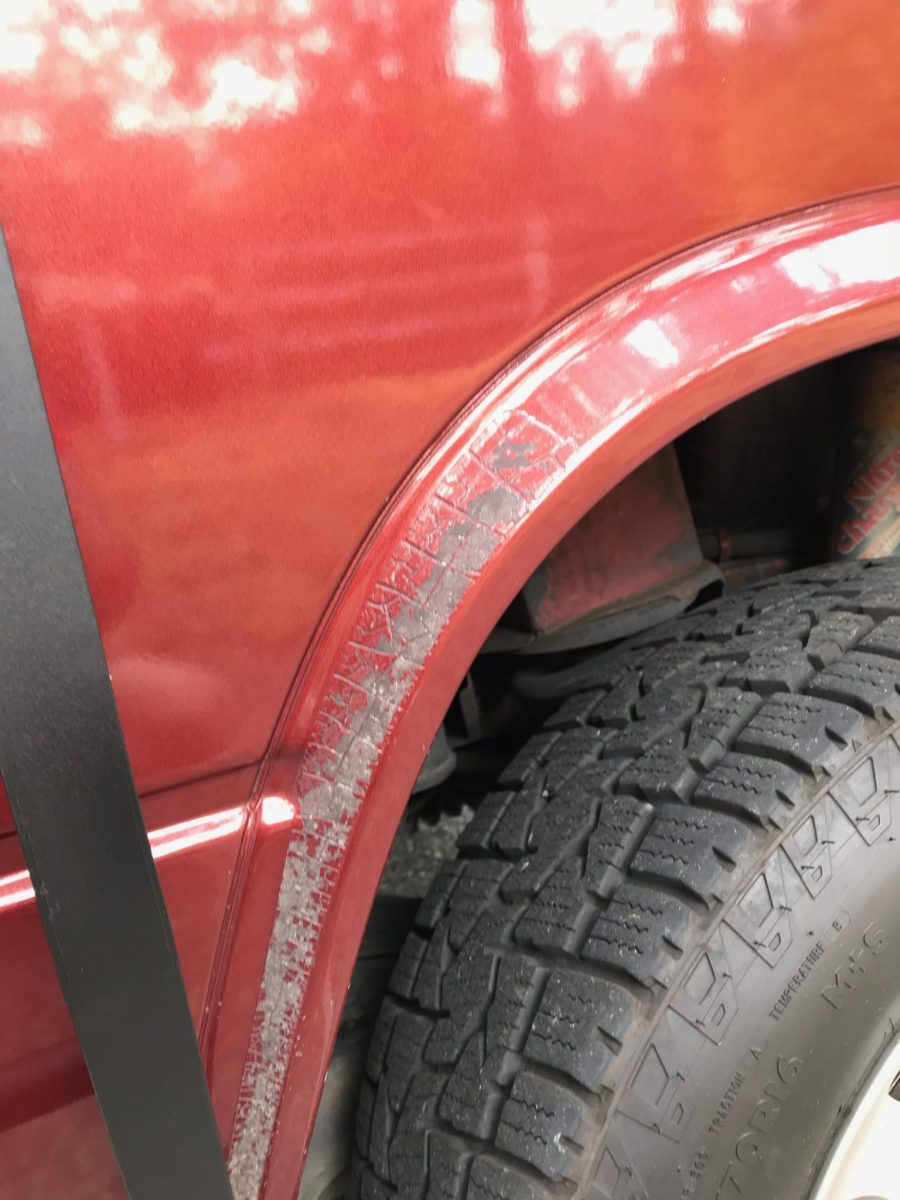 Paint flakes wheel flare