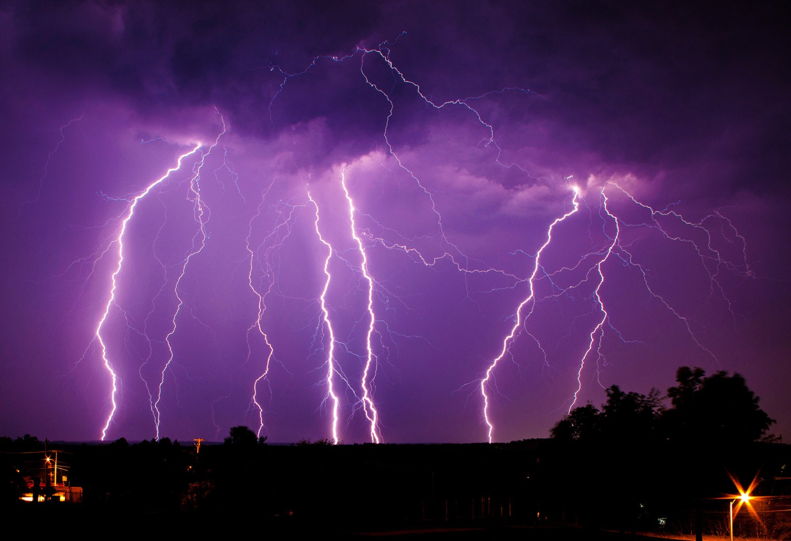 Lightning thunderstorm during the night