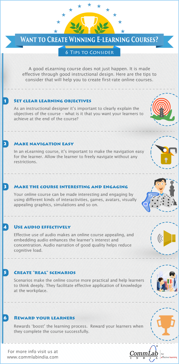 Want to Create Winning E-learning Courses? 6 Tips - An Infographic