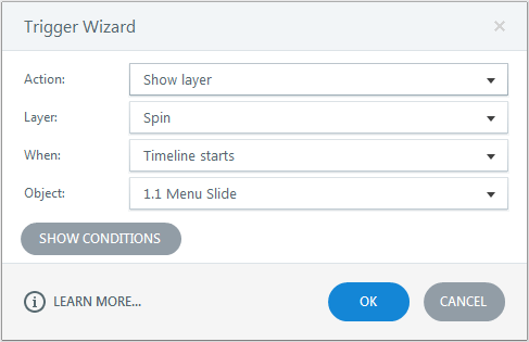 Show spin layer when timeline starts