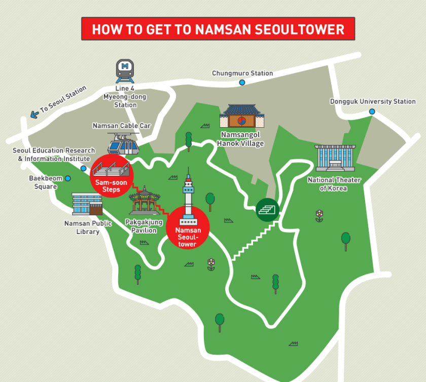 how to get to namsa seoultower map