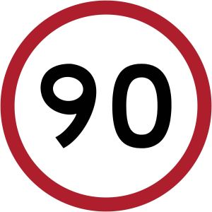 speed limit 90 km per hour
