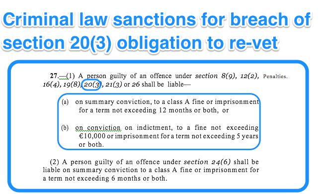Sectoin 20 the vetting legislation: re-vetting