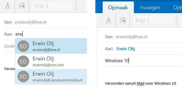 Links: typ een e-mailadres. Rechts: Typ een titel.