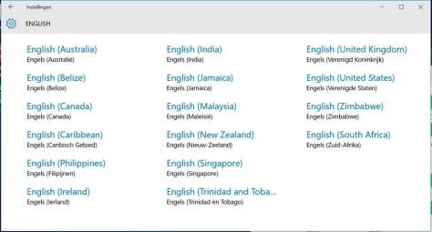 Zoek bij de talen naar Engels en kies vervolgens voor het Engels van de Verenigde Staten.