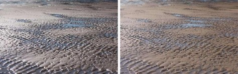 Reflecties in water en strand met en zonder polarisatiefilter.