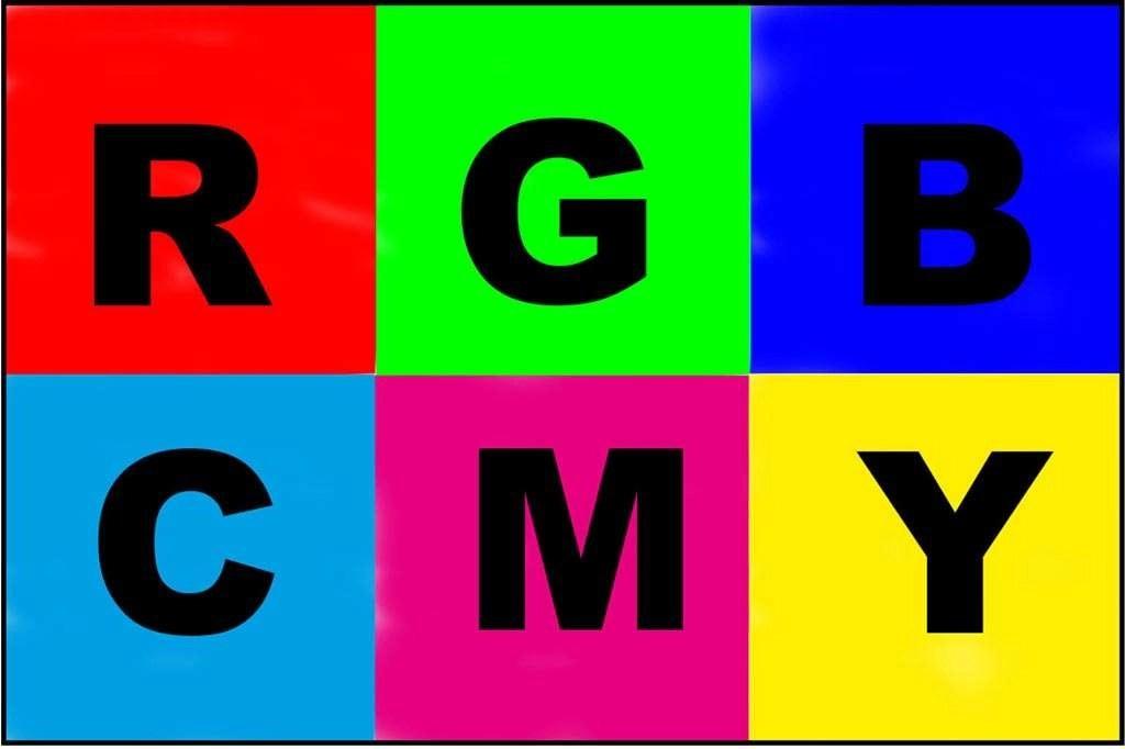 Cyaan, Magenta en Geel zijn de complementaire kleuren van Rood, Groen en Blauw.