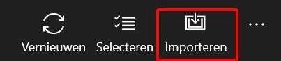 De knop rechtsboven in het scherm voor Importeren.