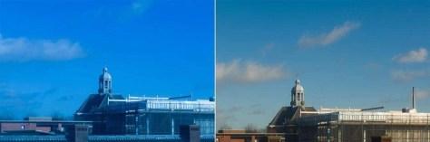 Bij de foto links was de kleurtemperatuur fout ingesteld, op 3000 K Tl-licht, waardoor de foto veel te blauw werd. Rechts de juiste instelling, zonlicht, 5500 K.