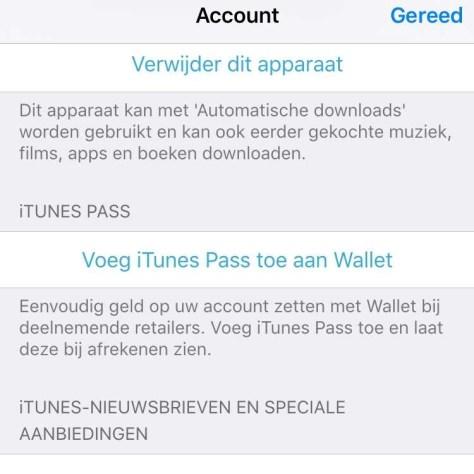 Voeg een iTunes Pass toe aan Wallet en vul uw saldo in de winkel aan met een zelfgekozen bedrag.