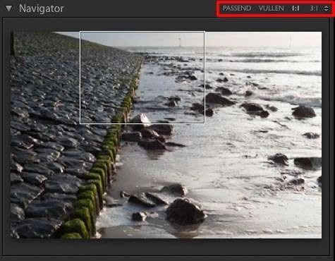 Bij het beoordelen van de verscherping moet je 1:1 ingezoomd zijn. Dit kan door op de foto te klikken met het vergrootglad of door in het deelvenster Navigator voor 1:1 te kiezen.