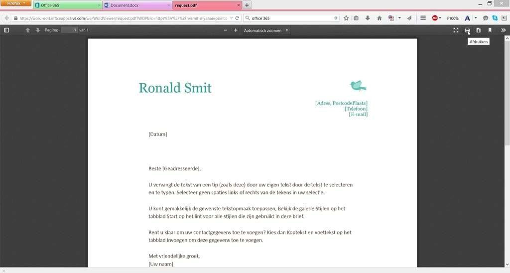Afdrukken kan rechtstreeks vanuit Office 365 en de online apps, maar wel via een tussenstation in de vorm van een pdf-document.