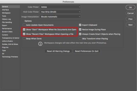 Aan- en uitzetten van de 'Start' en 'Recent Files' Workspaces in de Voorkeuren.