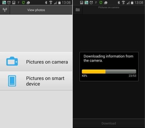 Tik op 'Pictures on camera' om te zien welke foto's er op je camera staan. De voorvertoningen worden naar je smartapparaat geladen.