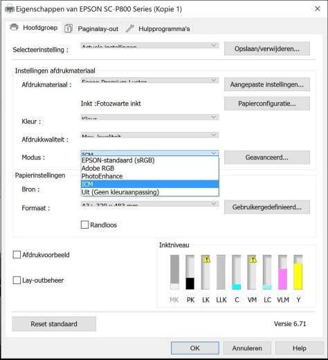 De printdialoog van de Epson SureColor P800 onder Windows 10, met de verschillende keuzemogelijkheden bij Modus.