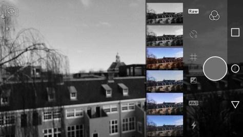 De camera-app in actie, met de presets. Hier is - voor het schieten van de foto - gekozen voor zwart-wit.