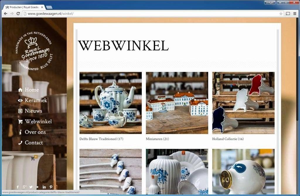 Royal Goedewaagen. Zeer verzorgde website waarvan de webwinkel decoratief keramiek levert. Gebruikt alleen WooCommerce als plug-in.